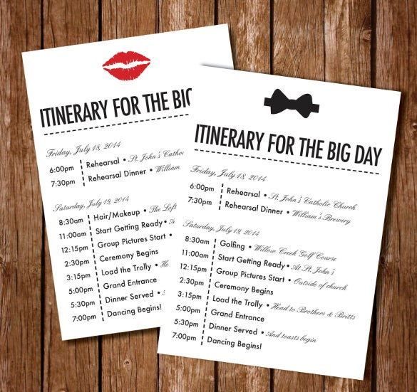 44 wedding itinerary templates doc pdf psd free for Bridal shower itinerary template