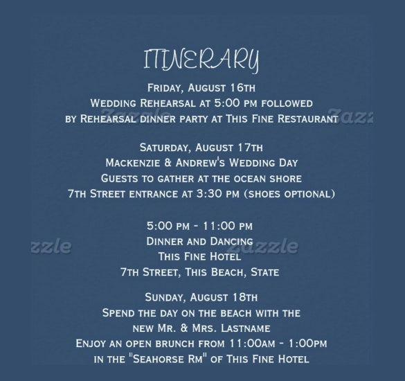 Wedding itinerary template 40 free word pdf documents download simple clear wedding itinerary template for download pronofoot35fo Image collections