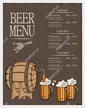 Example Menu for Beer keg and Glasses Template Download