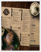 Lore Beer Pub Menu Template Sample Download