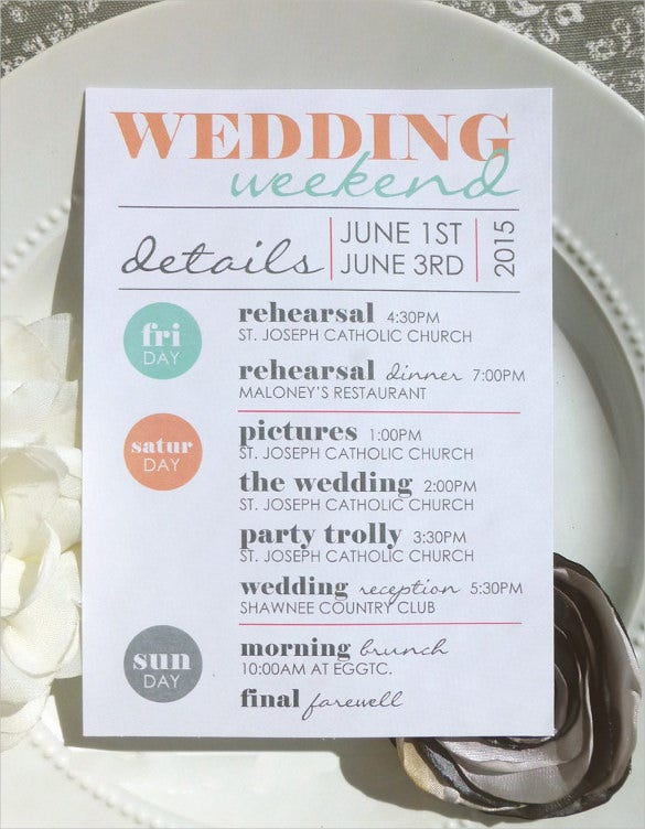 Wedding itinerary template 40 free word pdf documents download a wedding itinerary with a simple and elegant design is sure to please all the guests designing such an itinerary is really not that difficult pronofoot35fo Image collections