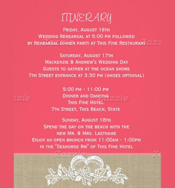 Laced Wedding Itinerary Template For Free Download