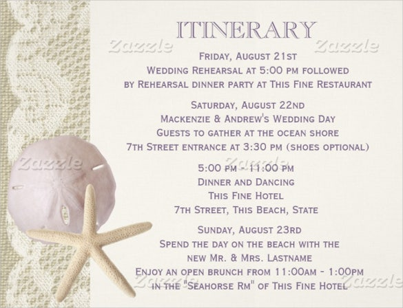 Thematic Wedding Itinerary Template For