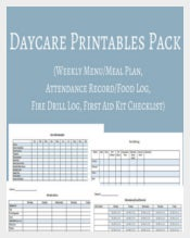 Daycare Planning Kit Weekly Menu Template Sample Download