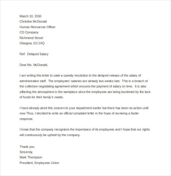 sample employee complaint letter template