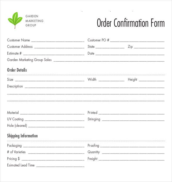 Order Confirmation Templates  Free Sample Example Format