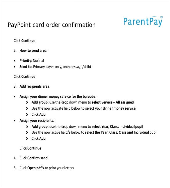 pay point card order confirmation template