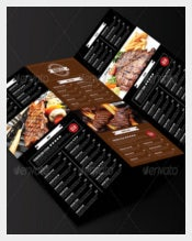 BBQ Steak Menu Trifold PSD Format Download