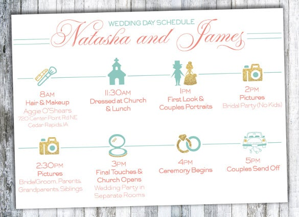 print ready wedding timeline template for download