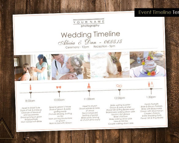 wedding photography timeline template for download