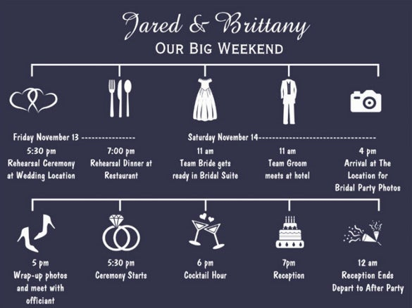 beautiful wedding timeline template for download
