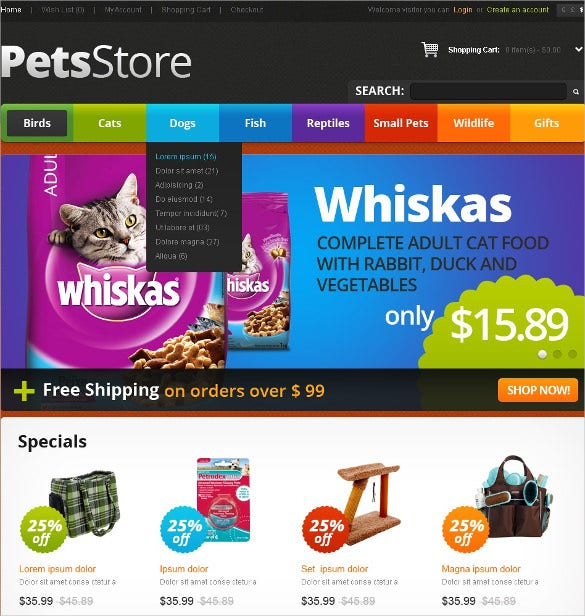 animal pets delight opencart template 89