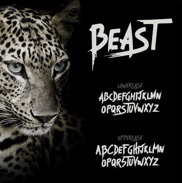 beast brush typography font
