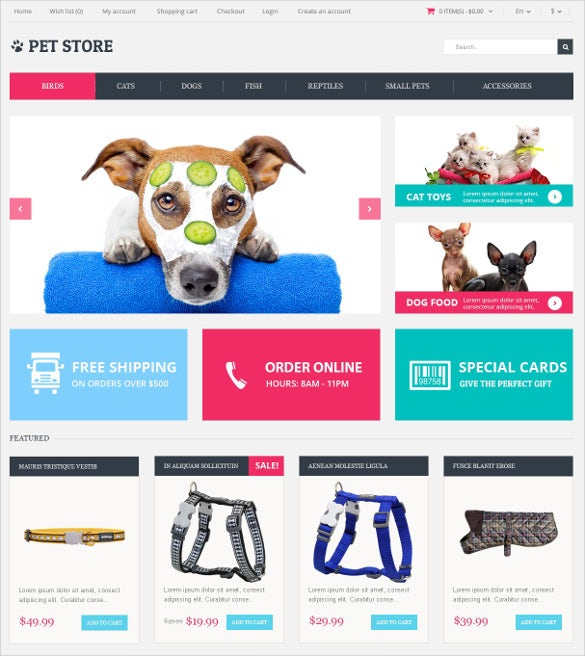 smart animals pets opencart template 89