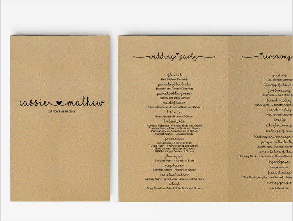 Wedding Program Templates to Download for Free