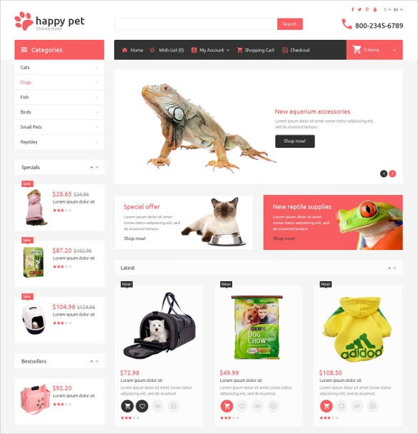 special animal pets opencart template 89