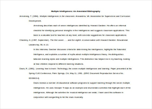 Multiple Intelligence An Annotated Bibliography Free Word Template