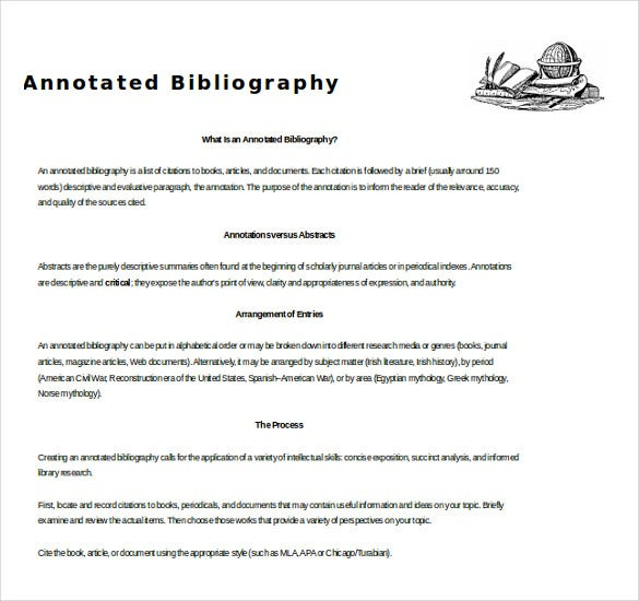 annotated bibliography entry for a journal articles free word