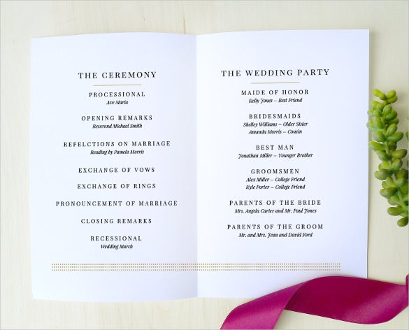 Wedding Program Template - 41+ Free Word, PDF, PSD Documents ...