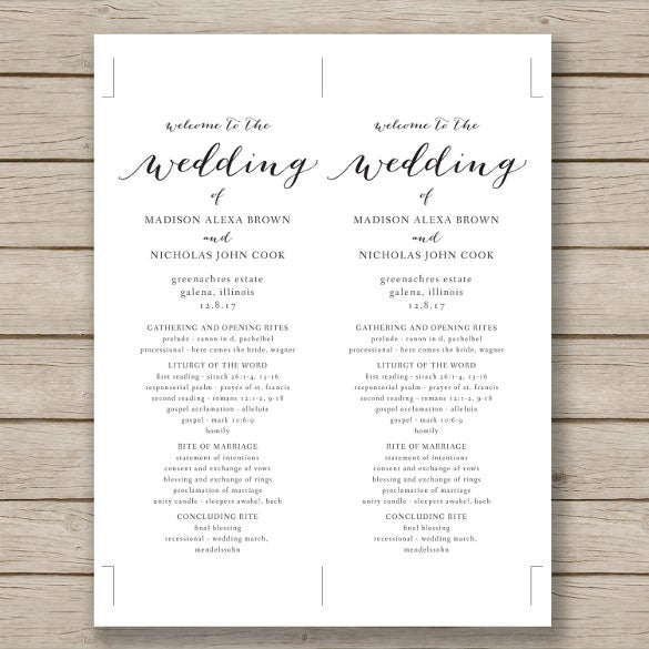 free wedding brochure templates download - wedding program template 41 free word pdf psd