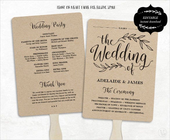 Accomplished image with regard to free printable wedding program templates word