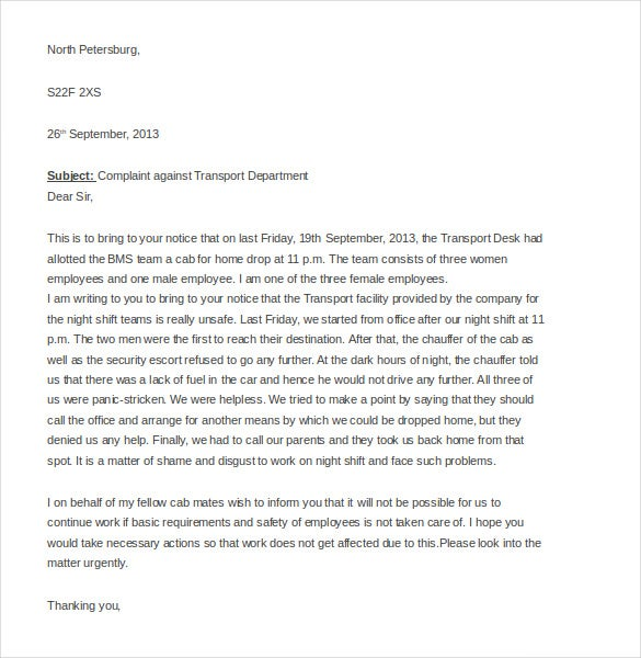 employee complaint letter templates sample example  sampleletterz com this sample complaints letter anyone can write a well worded complaints letter to the boss about transportation issues that are