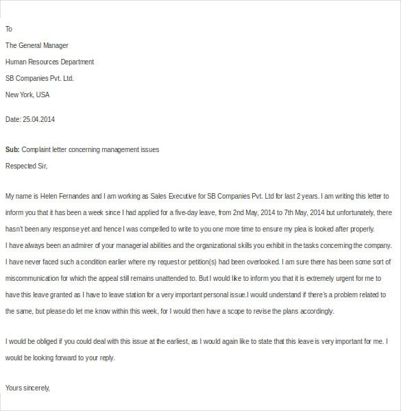 employee complaint letter to management1