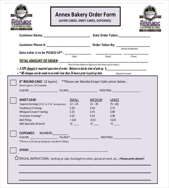 Sample Bakery Order Form Free Download  Customer Form Template