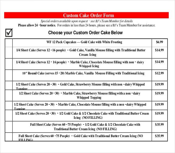 custom bakery cake order form free download