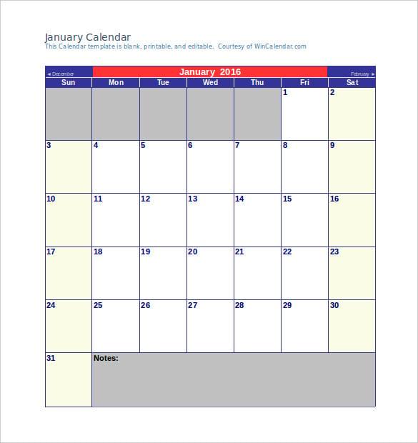 January 2016 Calendar Template Datariouruguay