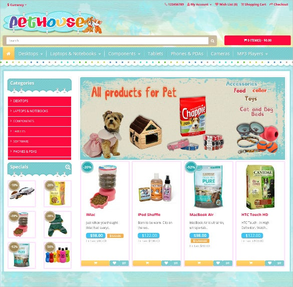 free animal pets opencart theme