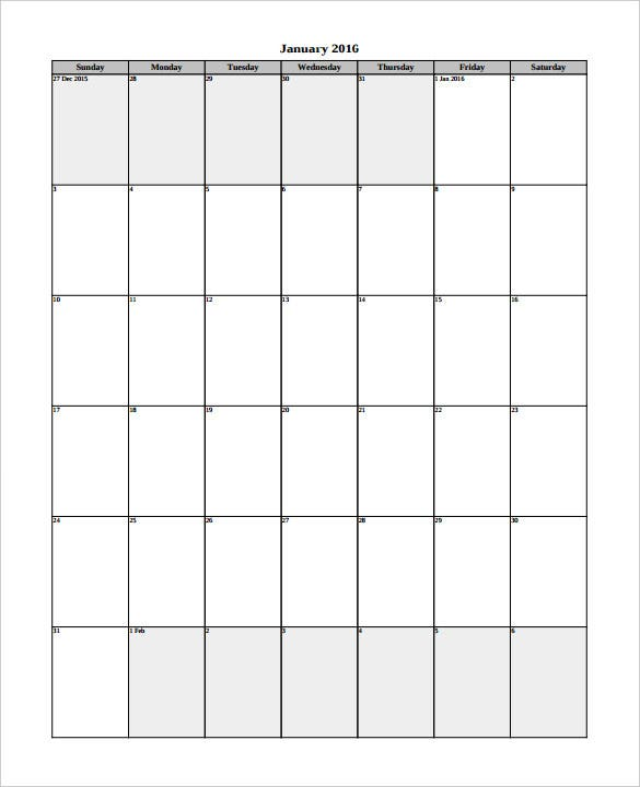 Free Monthly Calendar 2016 Template PDF Free Download
