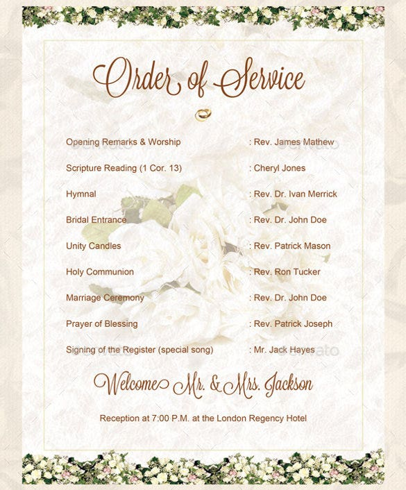 easy to download wedding order of service template for download