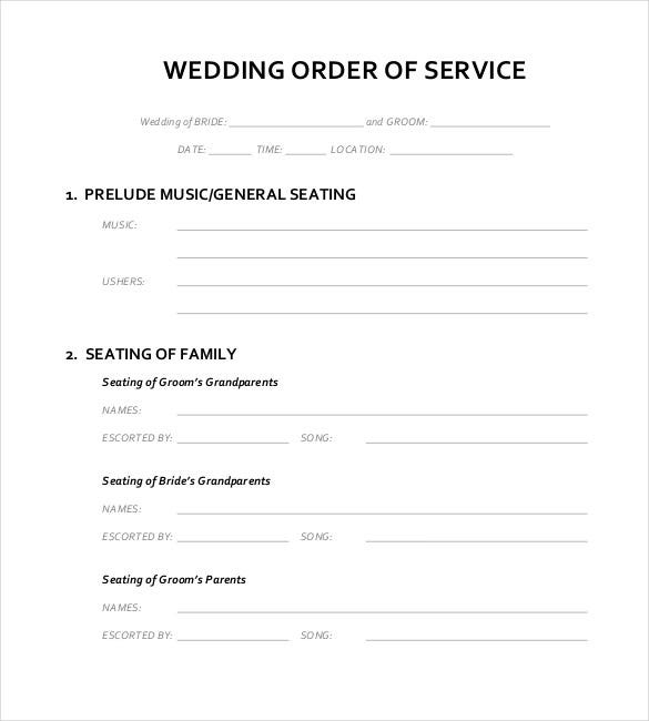 blank wedding order of service template for download