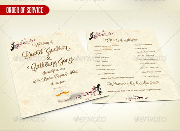 wedding order of service psd template download