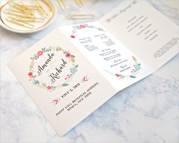 elegant wedding order of service template for download