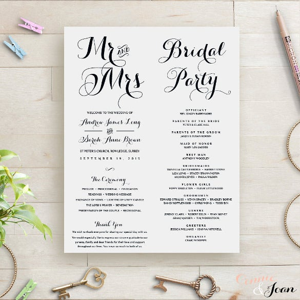 simple wedding order of service template for download