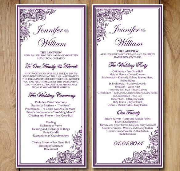 vintage wedding order of service template for download