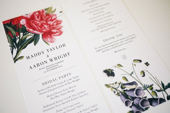 customizable wedding order of service template for download