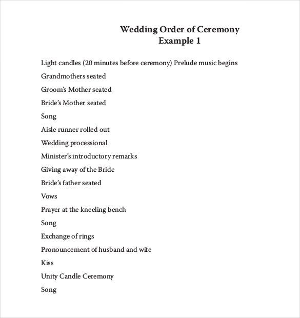 Wedding Order Of Service Template PDF Format Free Download  Order Of Service Template Free