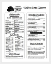 Free Print Take Out Menu PDF Format Template Download