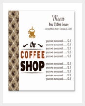 Coffee House Menu Card Template Sample Download