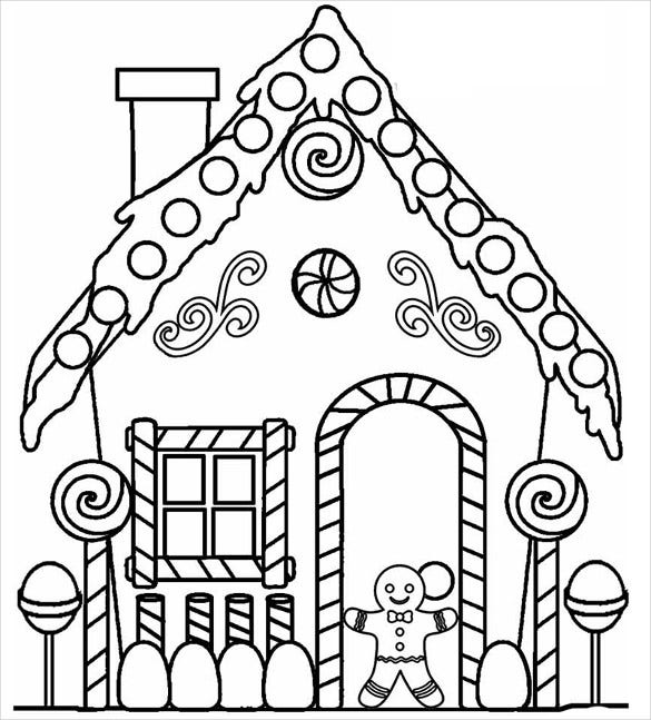 download gingerbread house stencil template