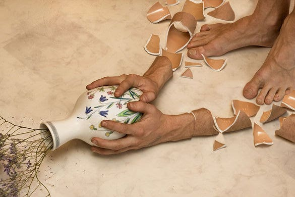 creative photo manipulation of flower pot hand