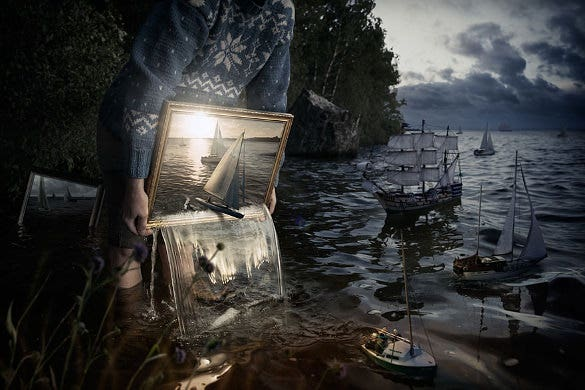 painting fullfill with ships water photo manipulation