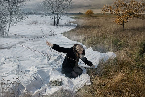 creative photo manipulation man with big cloth