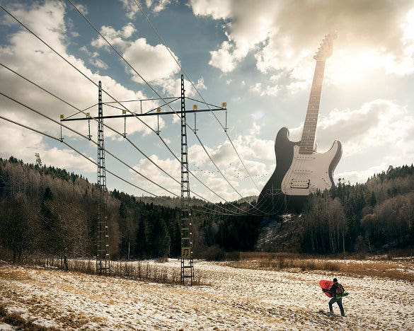 guiter photo manipulation design