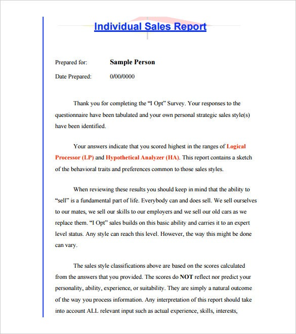 individual person sales report template printable pdf