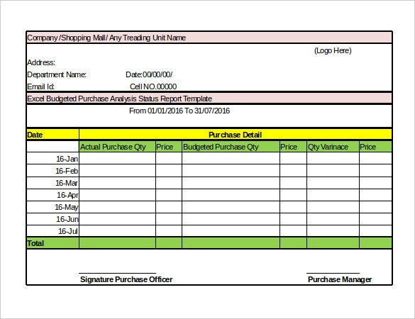 sales status report template