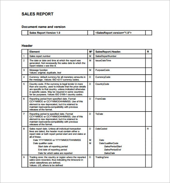 Sales Report Template   Free Word Excel Pdf Format Download